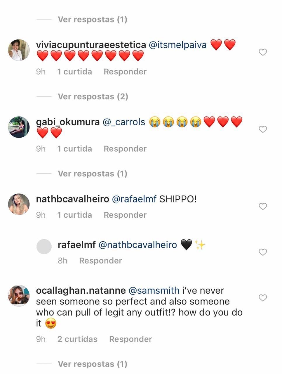 Comentários de fãs em post feito pelo Sam Smith no Instagram (Foto: Reprodução: Instagram)