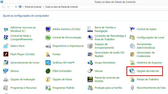 Windows permite configurar comportamento da Internet (Foto: Reprodução/Windows)