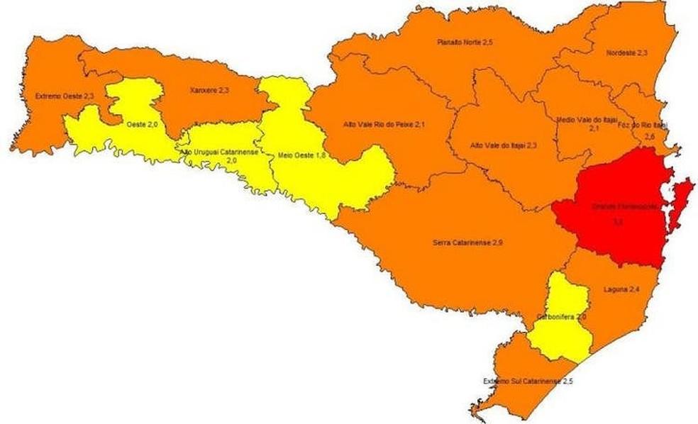 Novo mapa divulgado pelo governo de SC — Foto: Secretaria de Estado de Saúde/Reprodução