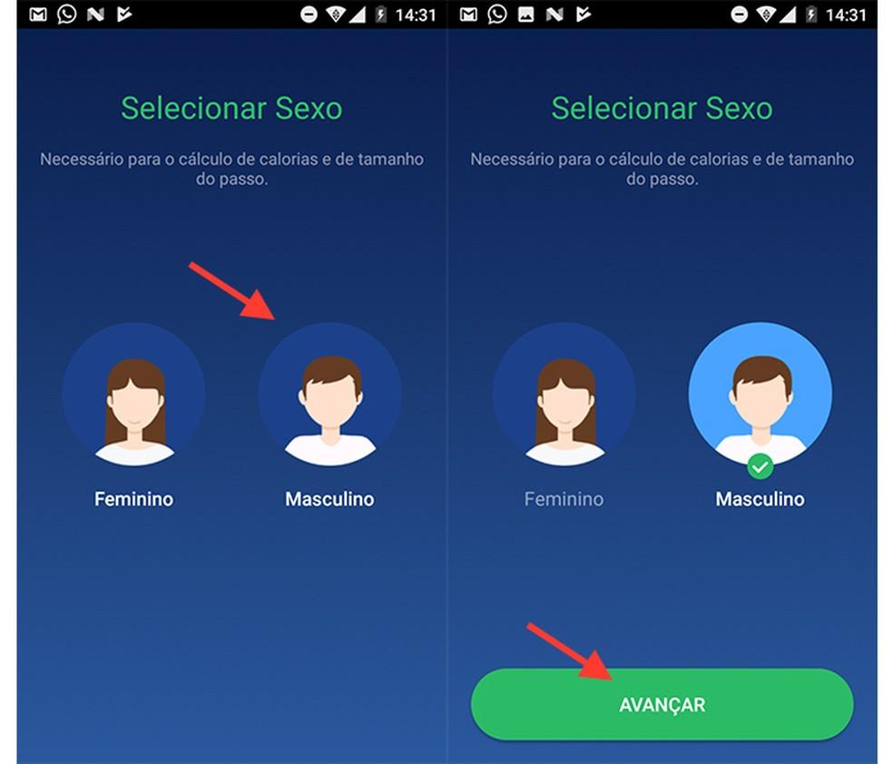 Opção para definir seu gênero na configuração do app Pedômetro (Foto: Reprodução/Marvin Costa)