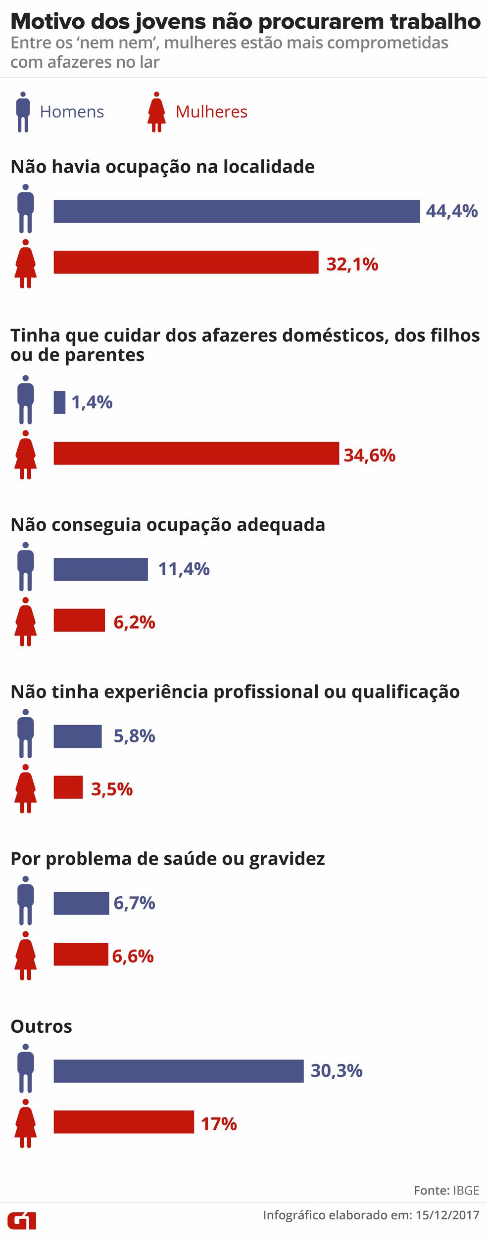 Infográfico aponta motivos para os jovens não procurarem trabalho (Foto: Arte/G1)
