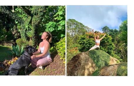 Paolla Oliveira no jardim do sítio Reprodução/Instagram