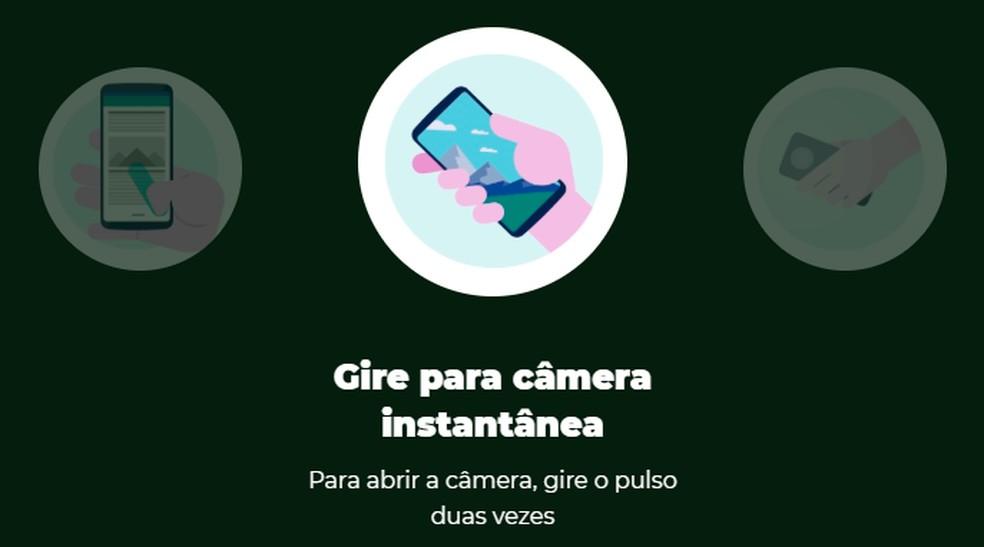"""Os recursos extras do Moto G8 Plus são chamados de """"Moto Ações"""" — Foto: Divulgação/Motorola"""