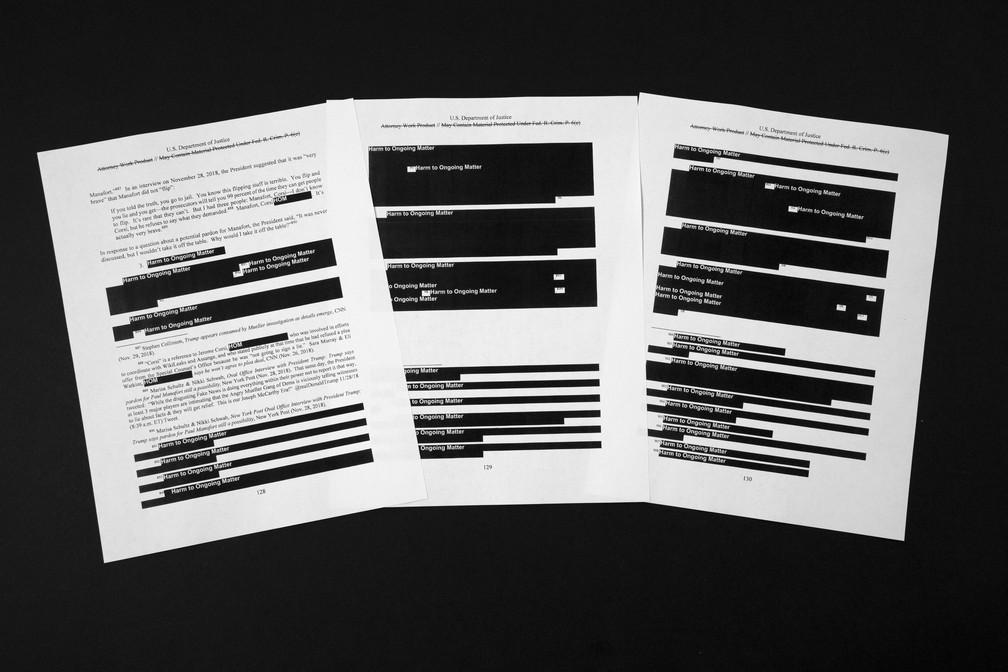 Trechos do relatório sobre o inquérito contra Donald Trump apareceram apagados â?? Foto: Jon Elswick/AP Photo