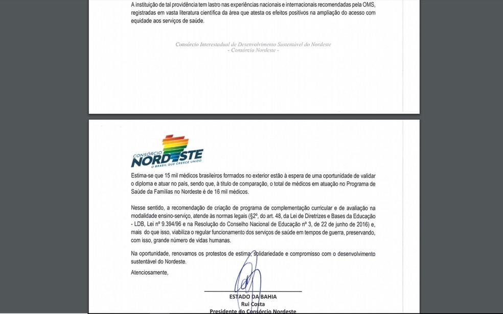 Documento enviado ao Ministério da Saúde foi assinado por Rui Costa, presidente do Consórcio — Foto: Reprodução