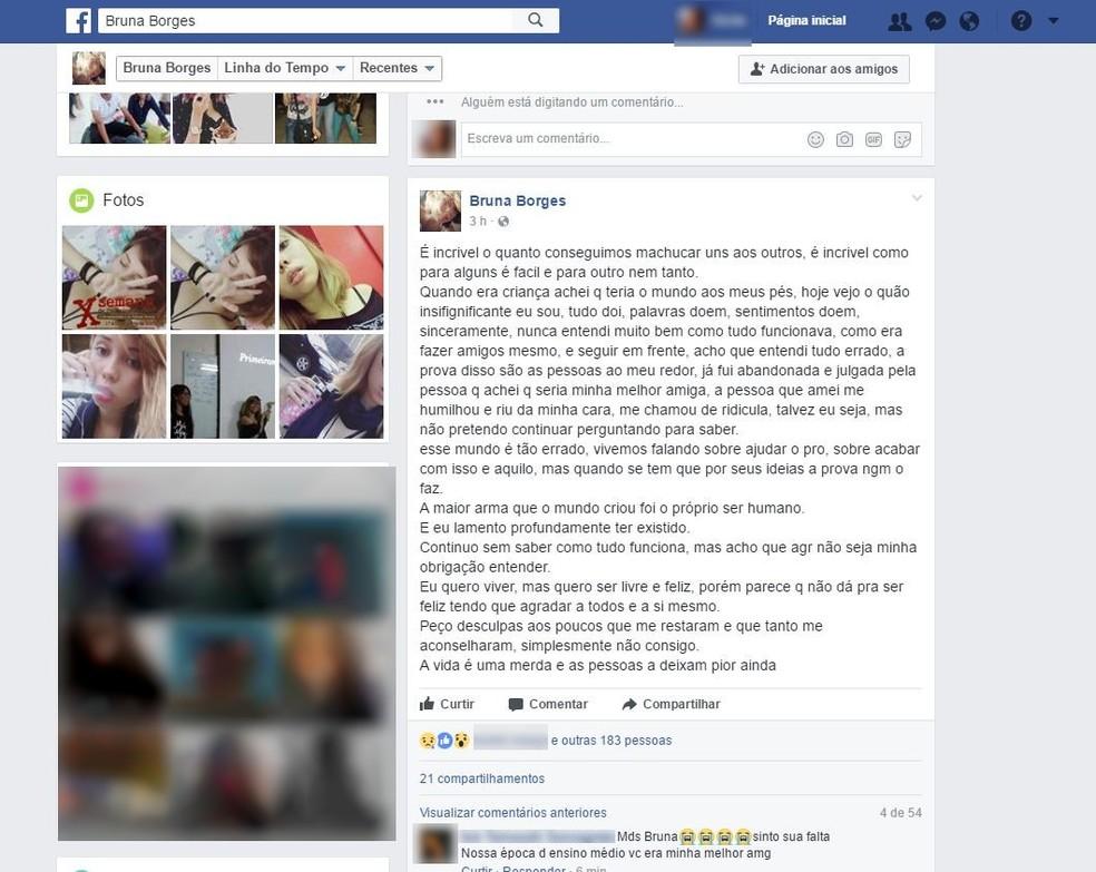 Antes de fazer vídeo, Bruna escreveu texto se dizendo machucada  (Foto: Reprodução/Facebook )