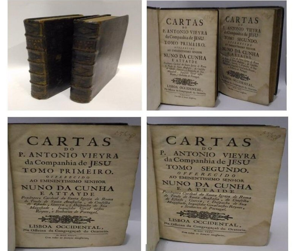 Exemplar do livro 'Cartas do P. Antonio Vieyra da Companhia De Jesu', furtado da UFRJ, foi apreendido em Campina Grande — Foto: Polícia Federal na Paraíba/Divulgação