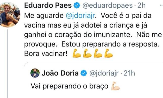 Paes provoca João Doria sobre antecipação de calendário de imunização