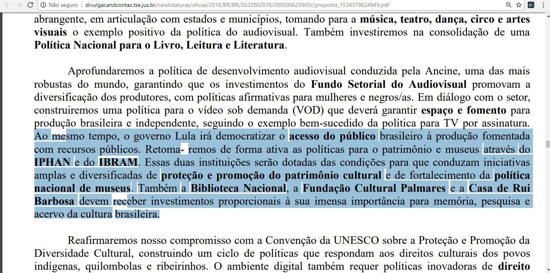 Trecho com a proposta do candidato Luís Inácio Lula da Silva (Foto: Reprodução)