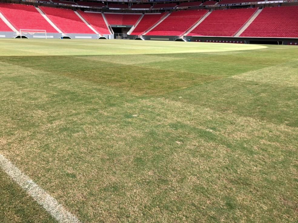 Gramado do estádio Mané Garrincha após a final do Candangão — Foto: André Barroso