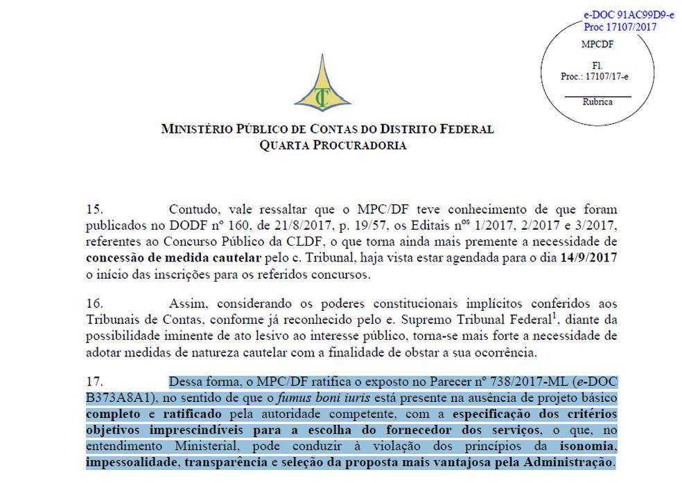 Trecho do parecer do Ministério Público de Contas do DF. (Foto: Reprodução)