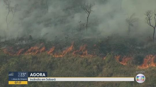 Fogo destrói vegetação em Sabará, na Região Metropolitana de BH