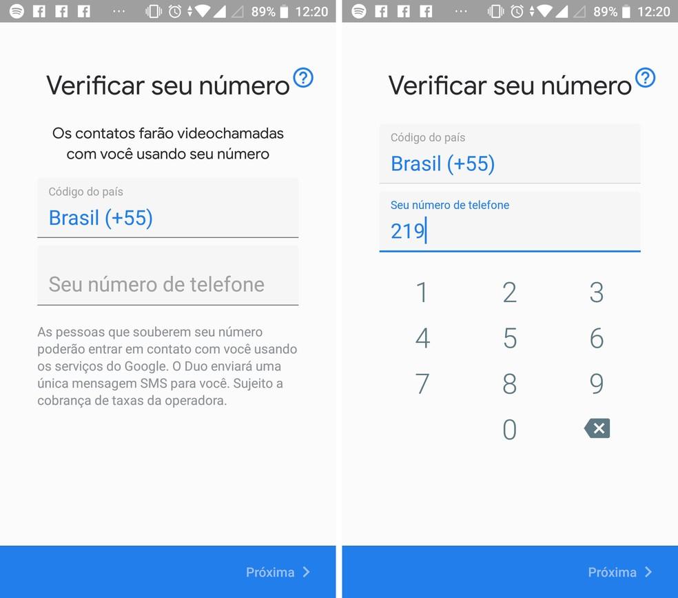Acesse o Google Duo com seu número de telefone — Foto: Reprodução/Isabela Cabral