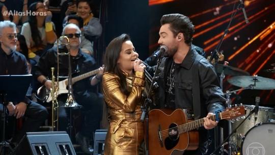 Maiara e Fernando revelam detalhes do começo de namoro e cantam juntos no 'Altas Horas'