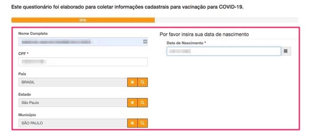 Vacina SP: preencha o formulário para pré-cadastro da CoronaVac — Foto: Reprodução/Marvin Costa