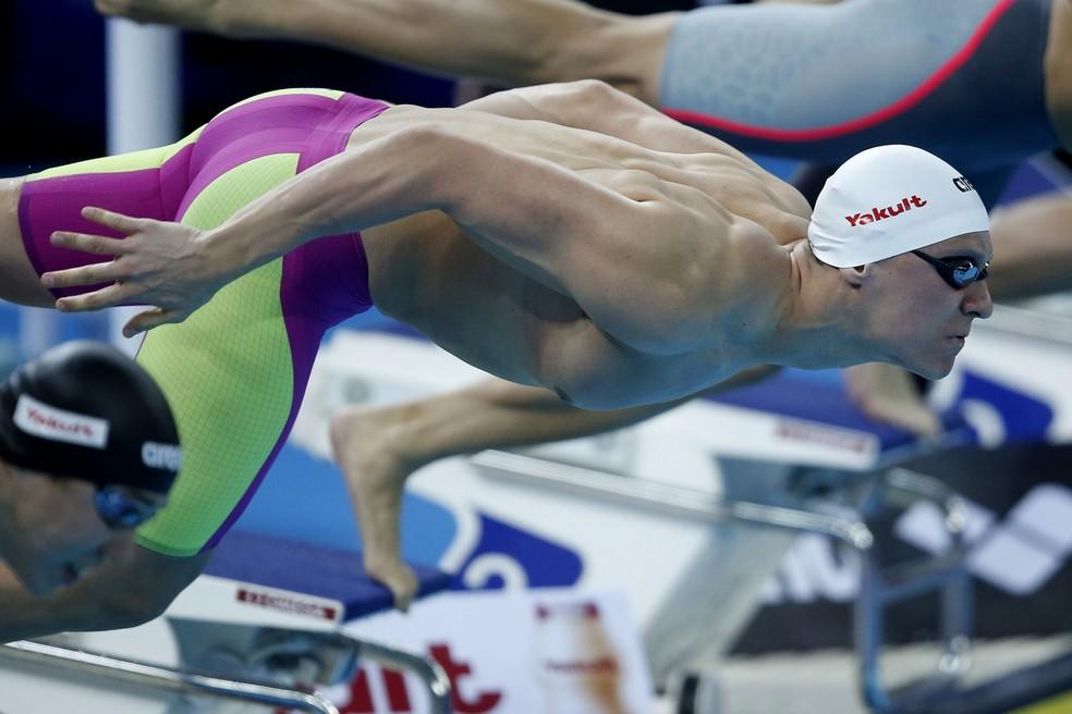 Caio Pumputis, de apenas 19 anos, foi quinto colocado na final dos 200m medley — Foto: Satiro Sodré / SSPress / CBDA