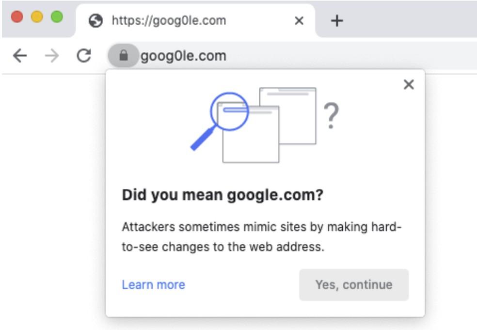 Chrome avisa sobre endereços parecidos — Foto: Reprodução/Google