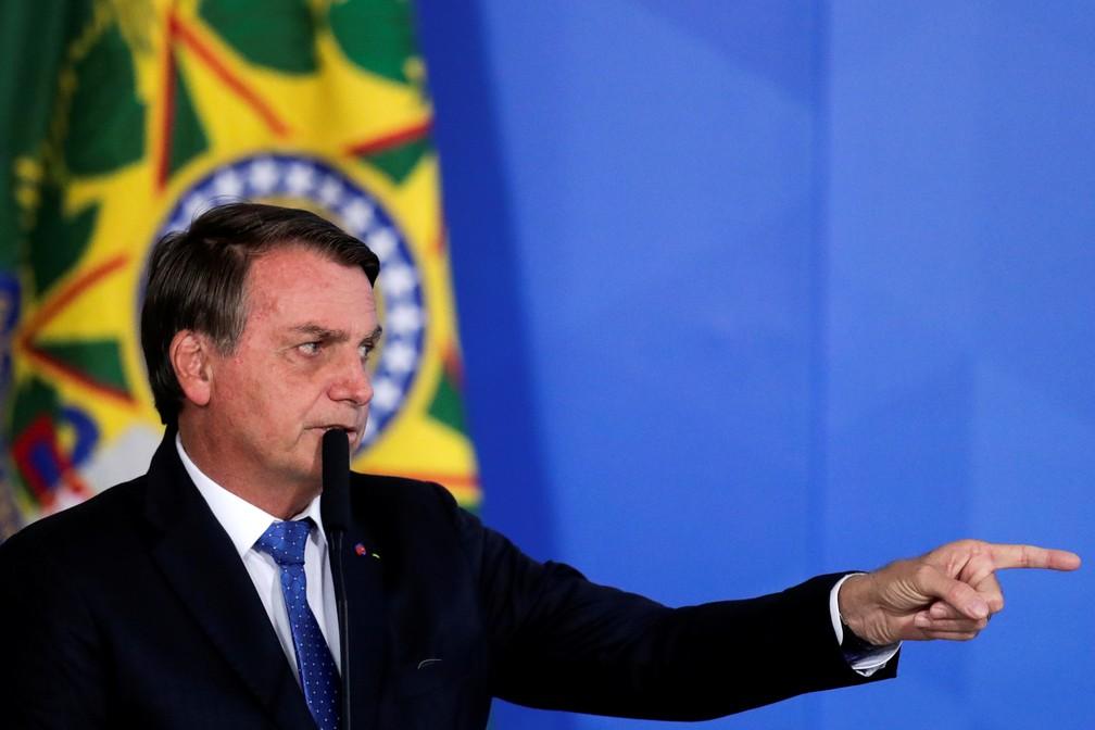 O presidente Jair Bolsonaro durante cerimônia no Palácio do Planalto em 7 de outubro — Foto: Ueslei Marcelino/Reuters