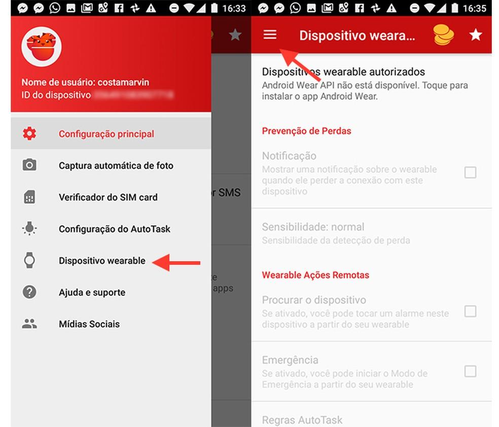 Opçãp para dispositivos wearable do app Cerberus (Foto: Reprodução/Marvin Costa)