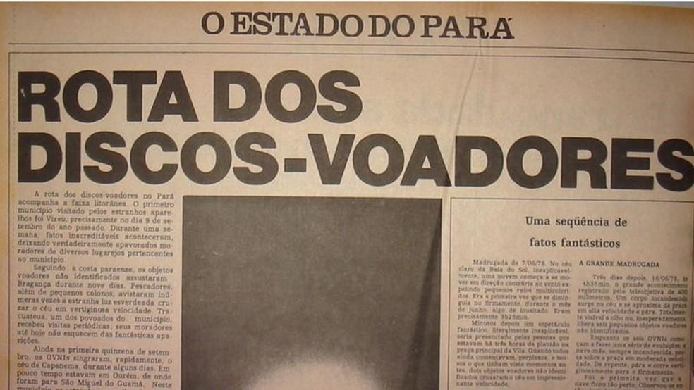 Rapport de 'O Estado do Pará';  Les ovnis ont provoqué la panique dans la population du Pará — Photo : Collection Carlos Mendes via BBC