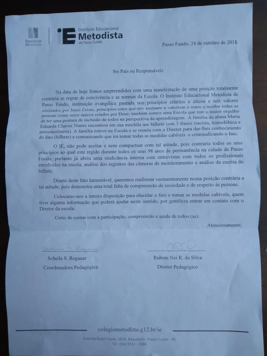 Nota enviada aos pais pela escola (Foto: Arquivo pessoal)