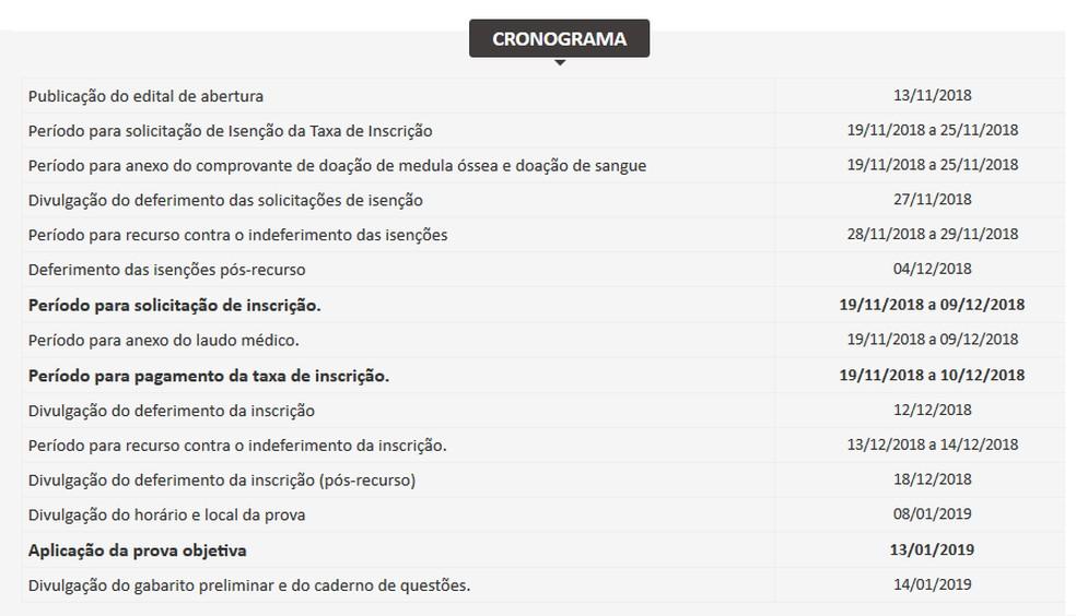 Cronograma do concurso público de Piraquara — Foto: Reprodução