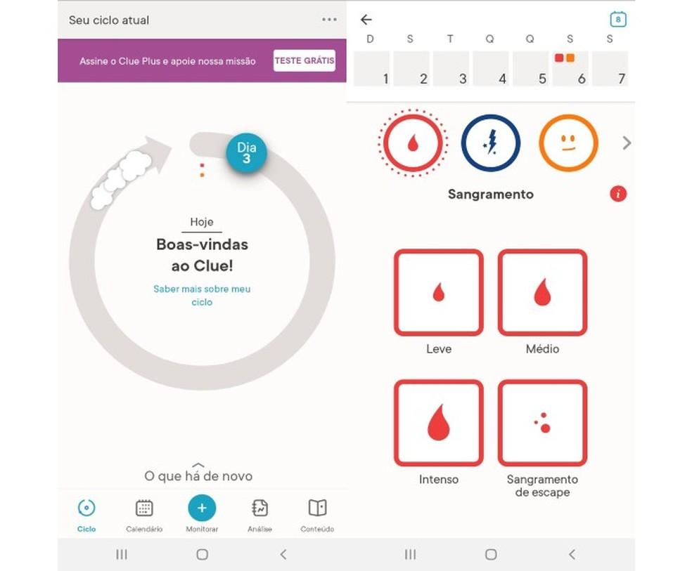 Layout do app de menstruação Clue — Foto: Reprodução/Marcela Franco