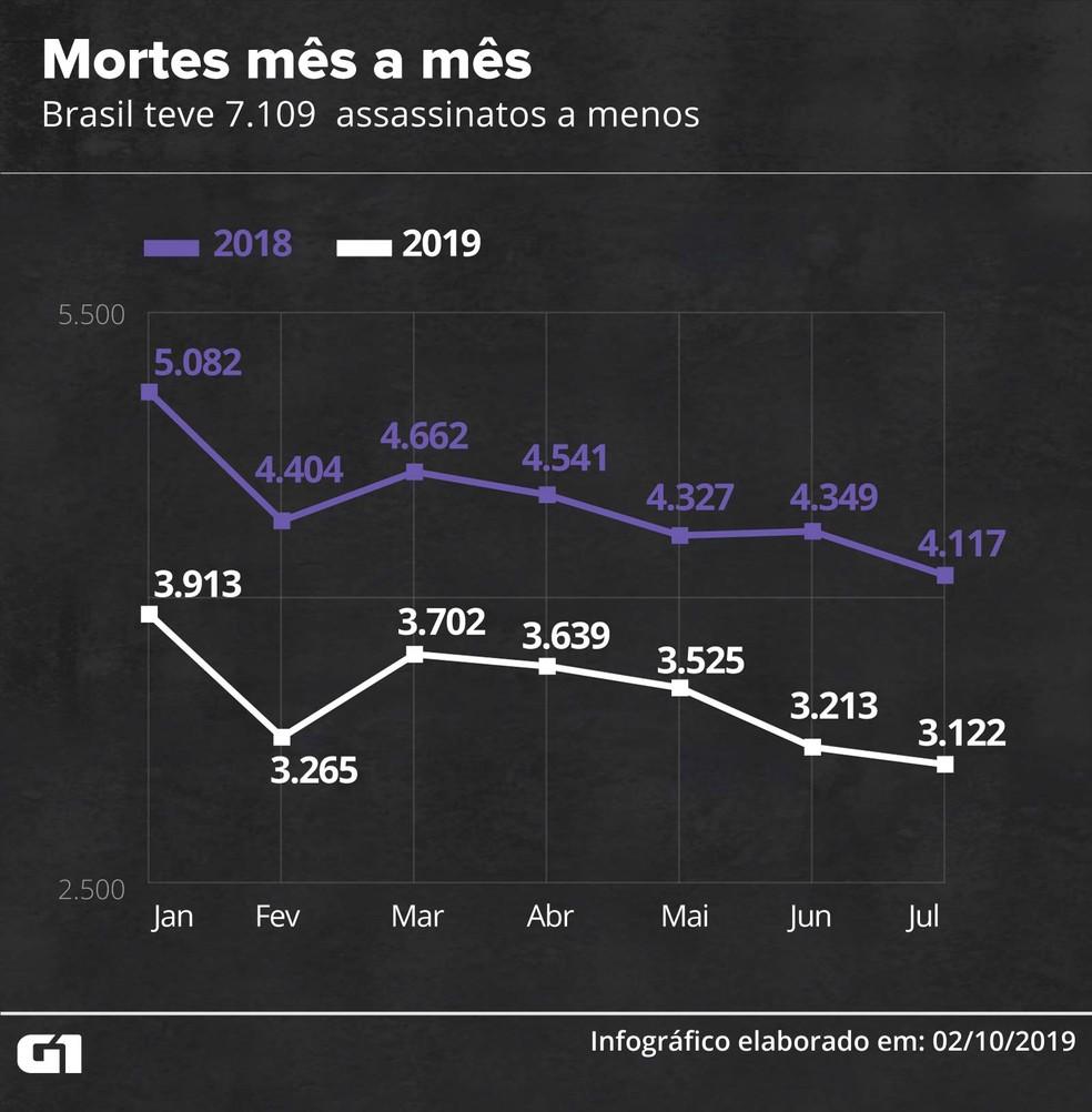 Mortes mês a mês no Brasil ? Foto: Rodrigo Cunha/G1