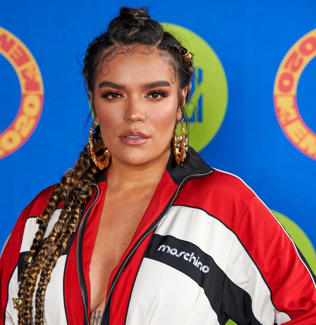 Karol G no MTV EMA 2020 — Foto:  Rodrigo Varela/MTV via Reuters
