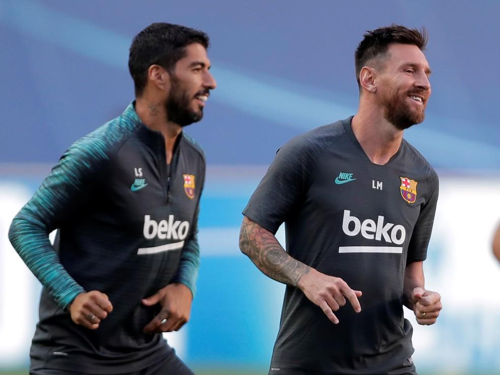 Suárez e Messi em treino do Barcelona — Foto: Reuters