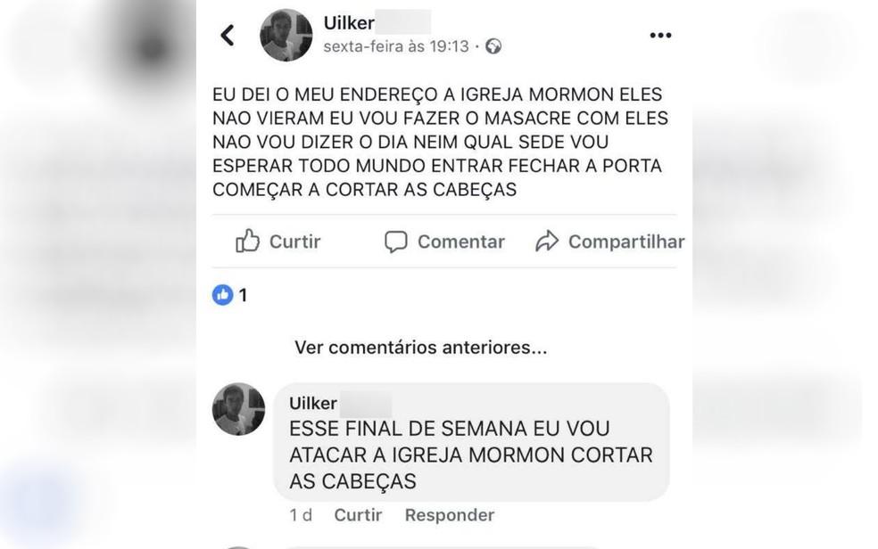 Suspeito de esfaquear fiéis em igreja postou em rede social que faria massacre, em Aparecida de Goiânia — Foto: Polícia Civil/Divulgação