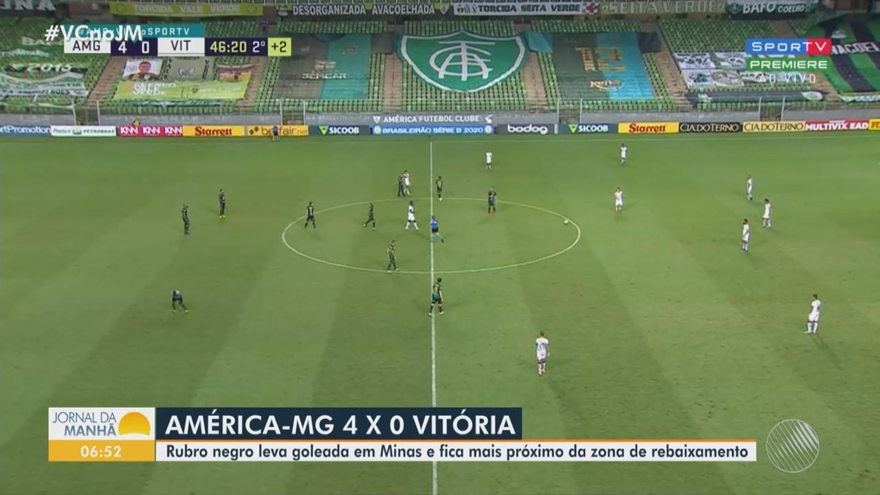 Vitória é goleado pelo América-MG e Bahia fica no empate com o Atlético-GO