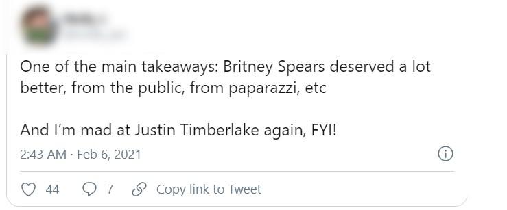 Justin Timberlake é criticado após lançamento do documentário Framing Britney (Foto: Reprodução / Twitter)