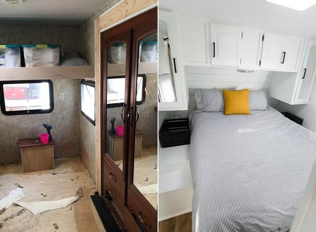 No quarto, o armário ao lado da cama ocupava espaço. Após a reforma, os compartimentos foram para cima da cama (Foto: Brianne and Sean Walker/ Reprodução)