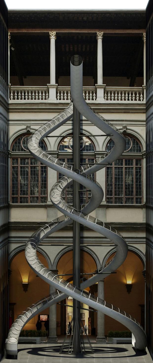 Palácio renascentista recebe escorregadores de Carsten Höller  (Foto: Divulgação)