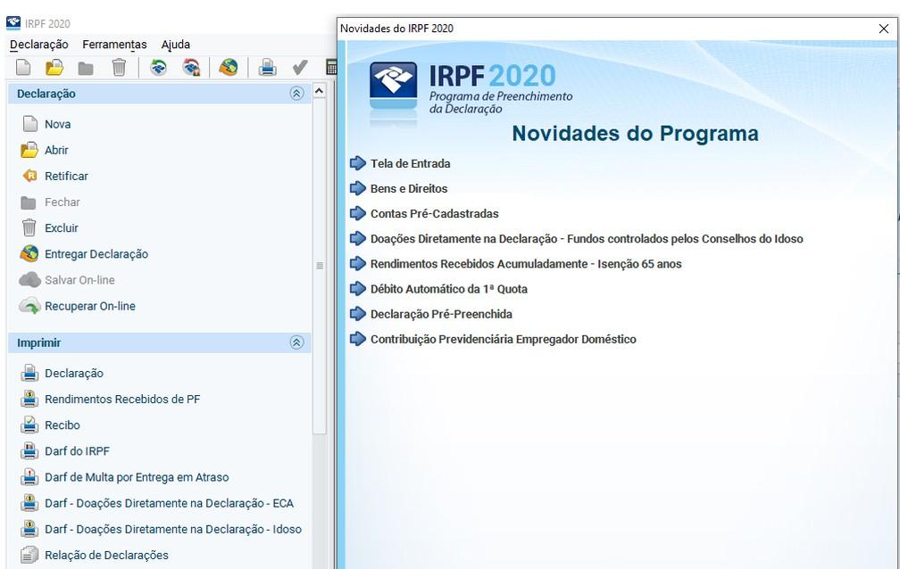 Programa gerador do IR 2020 informa logo na tela inicial as novidades deste ano  — Foto: Reprodução
