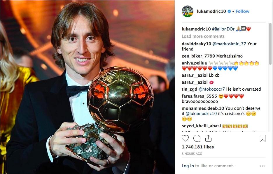 O post do craque croata Luka Modric celebrando sua vitória no prêmio Bola de Ouro 2018 (Foto: Instagram)