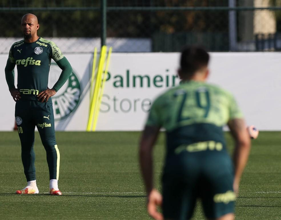 Felipe Melo e Willian durante treino do Palmeiras — Foto: Cesar Greco / Ag. Palmeiras