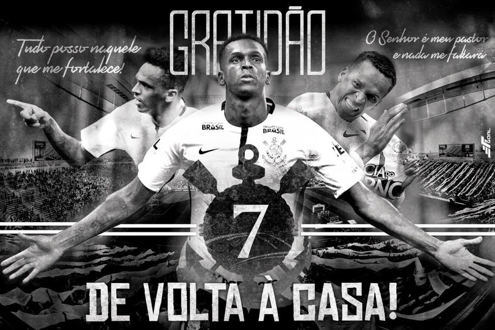 Imagem publicada por Jô para celebrar o acordo com o Corinthians — Foto: Reprodução