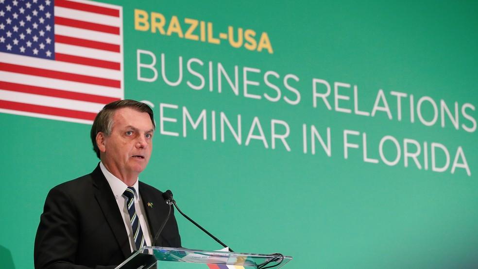 O presidente Jair Bolsonaro durante discurso em viagem aos Estados Unidos, nesta semana — Foto: Alan Santos/PR