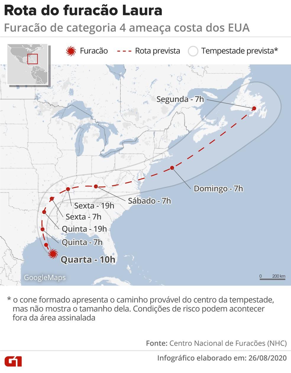 Infográfico mostra a rota do furacão Laura nos EUA — Foto: Arte/G1