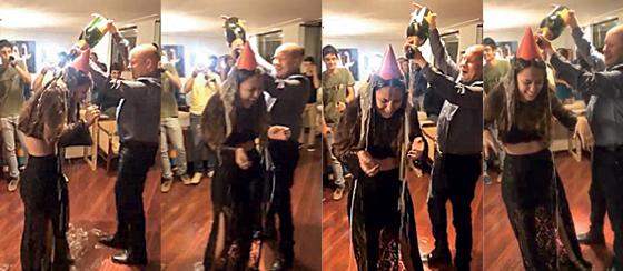 Cenas do vídeo em que Demóstenes Torres dá banho de Veuve Clicquot em sua enteada. O ex-senador disputará as eleições deste ano graças a liminar de Dias Toffoli (Foto: Reprodução)