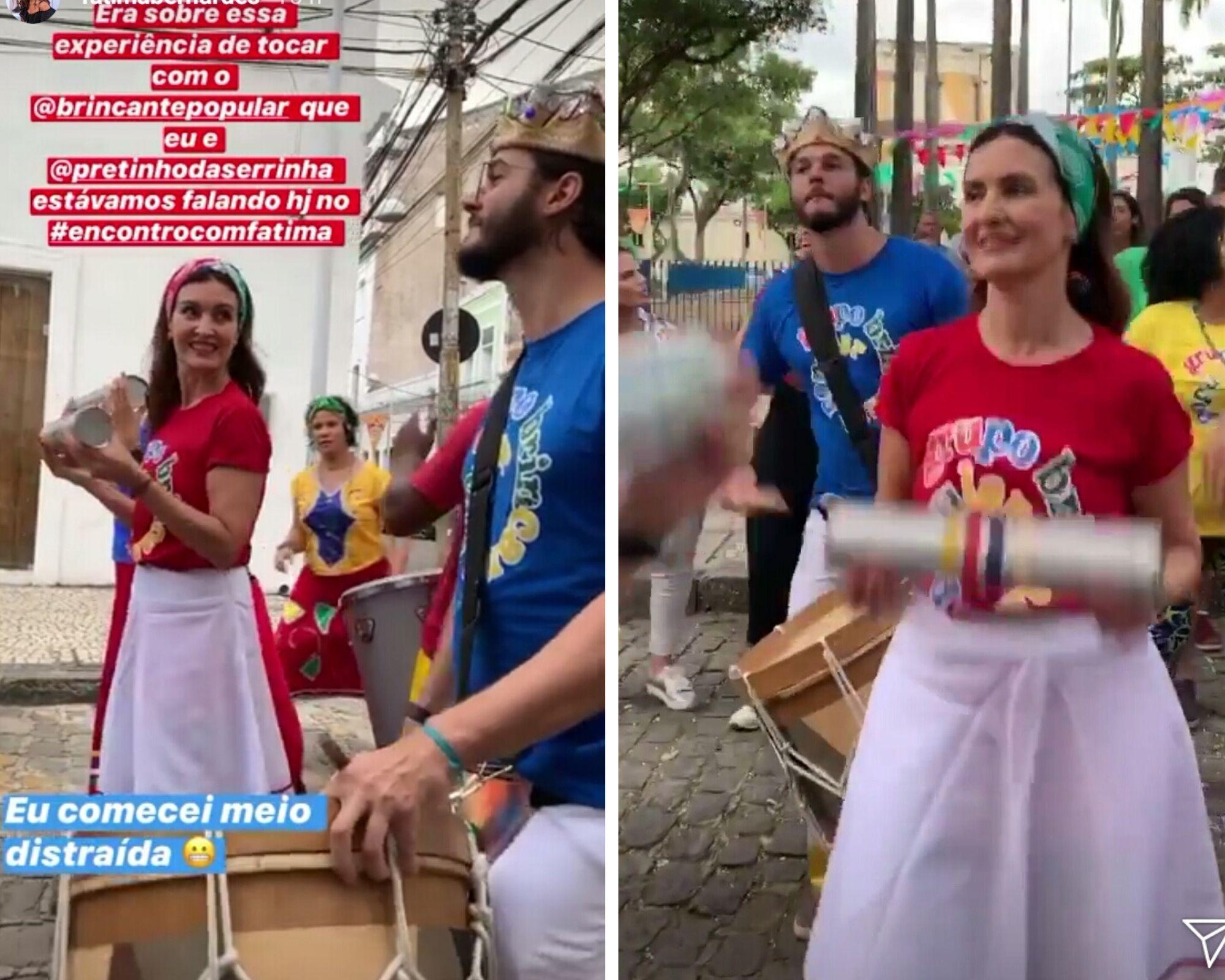 Fátima Bernardes toca em bloco ao lado de Túlio Gadêlha - Quem ...