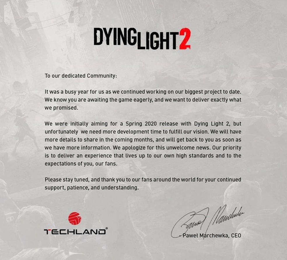 Nota da Techland sobre o adiamento de Dying Light 2 — Foto: Reprodução/Twitter