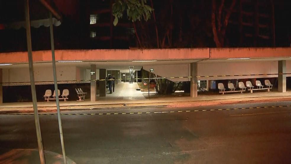 Área isolada no Anexo do Buriti após explosão de caixa eletrônico — Foto: Reprodução/TV Globo
