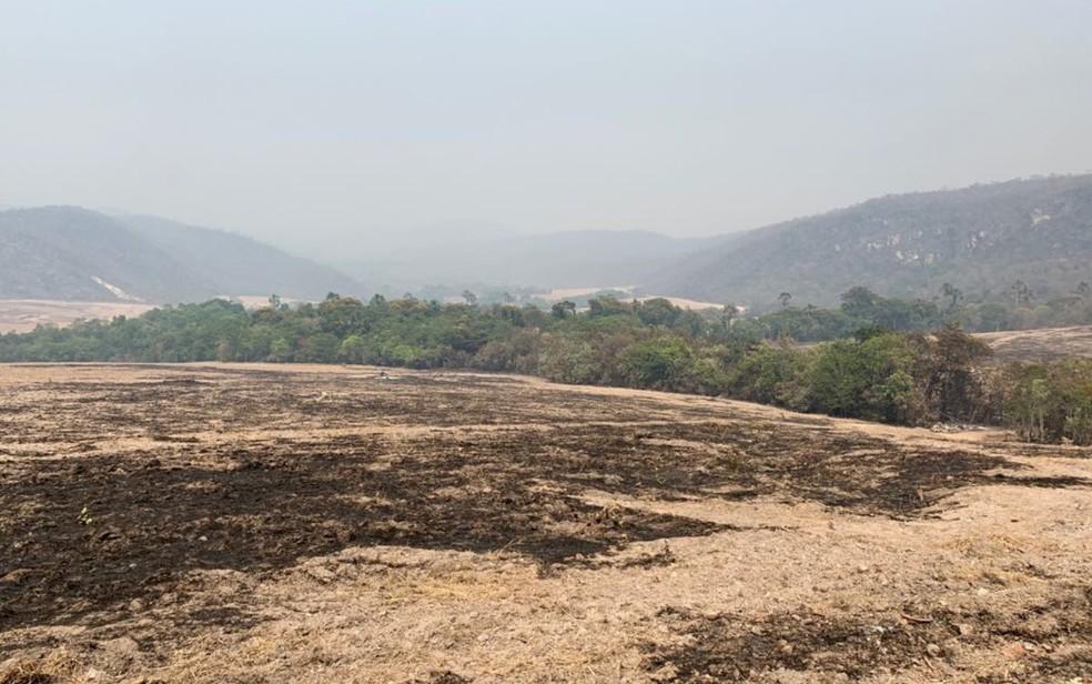 Incêndio na Chapada dos Veadeiros já queimou mais de 30 mil hectares de vegetação em Goiás — Foto: Divulgação/Polícia Civil