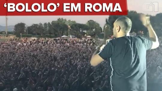 MC Bin Laden causa comoção na Itália com 'Bololo haha' em show com 10 mil pessoas; veja vídeo