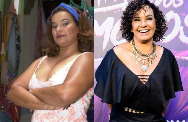 Solange Couto em 2001, na novela 'O clone', e depois de perder mais de 40kg (Foto: TV Globo)