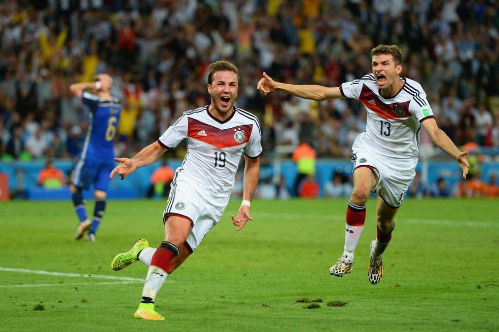 Mario Götze comemora o gol contra a Argentina — Foto: Getty Images