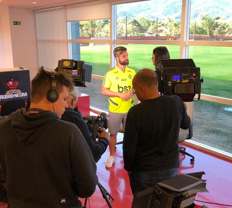 Diego durante entrevista para o GloboEsporte — Foto: Ivan Raupp